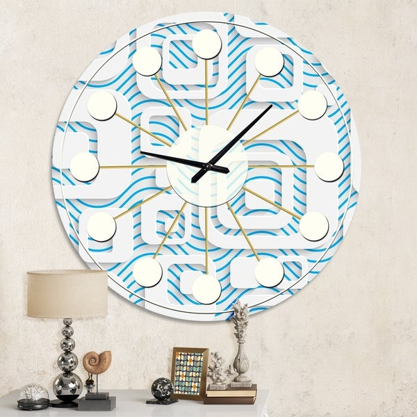 Carson Carrington Tomming White and Blue Pattern I' Mid-Century Wall Clock