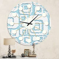 Designart '3D White and Blue Pattern I' Mid-Century wall clock