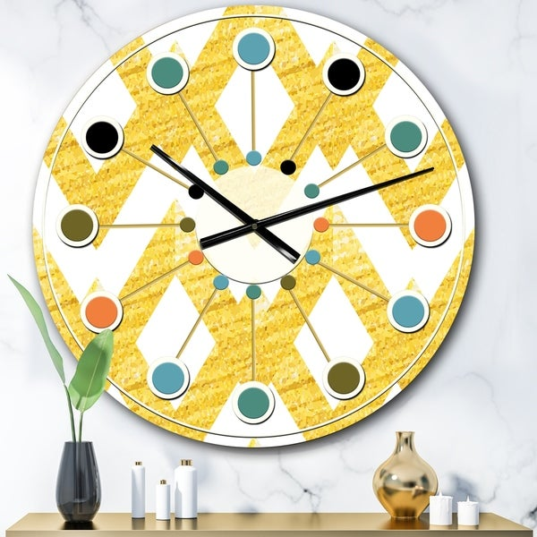 Designart 'Gold glittering lines pattern' Mid-Century wall clock