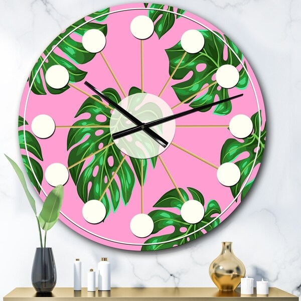 Designart 'Tropical Palm Leaves III' Mid-Century wall clock