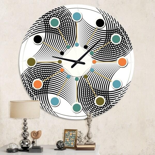 Designart 'Monochrome Geometric Pattern IX' Mid-Century wall clock. Opens flyout.
