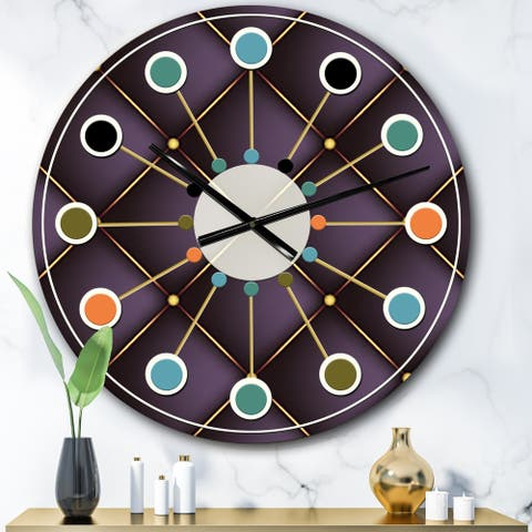 Designart 'Quilted pattern' Mid-Century wall clock