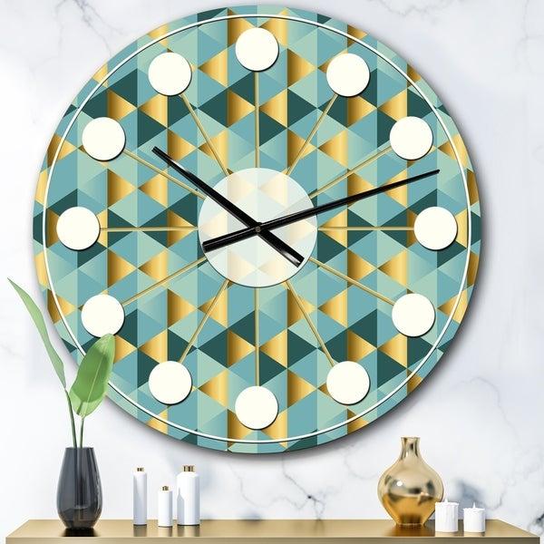 Designart 'Gold and Blue Dynamics V' Mid-Century wall clock