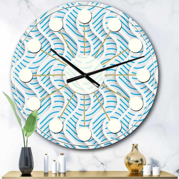 Designart '3D White and Light Blue Pattern II' Mid-Century wall clock