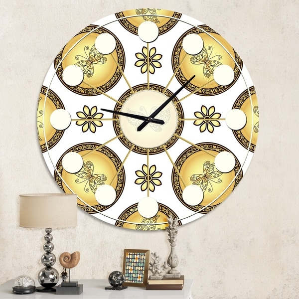Designart 'Gold and browne pattern with gradient vintage circles' Mid-Century wall clock