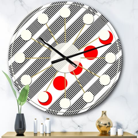 Designart 'Retro Geometrical Abstract Minimal Pattern XI' Mid-Century wall clock
