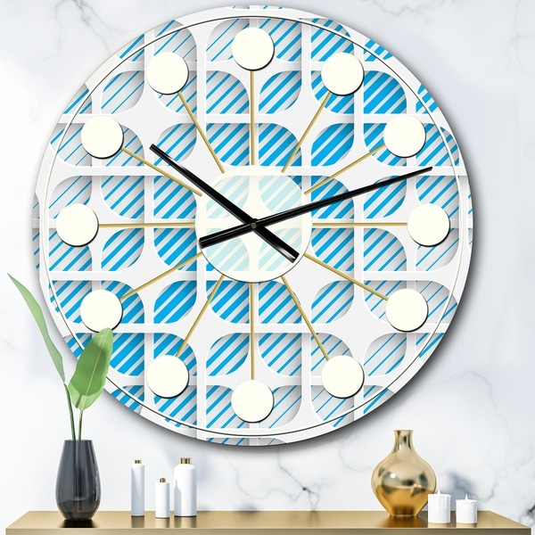 Designart '3D White and Blue Pattern II' Mid-Century wall clock