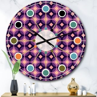 Designart 'Retro Circular Purple and Yellow Pattern' Mid-Century wall clock