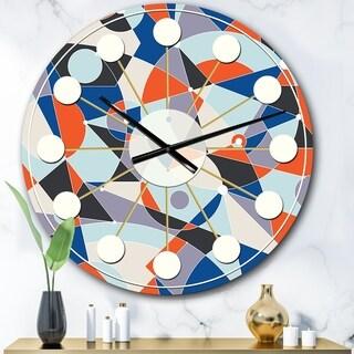 Designart 'Retro Geometric Grid IV' Mid-Century wall clock