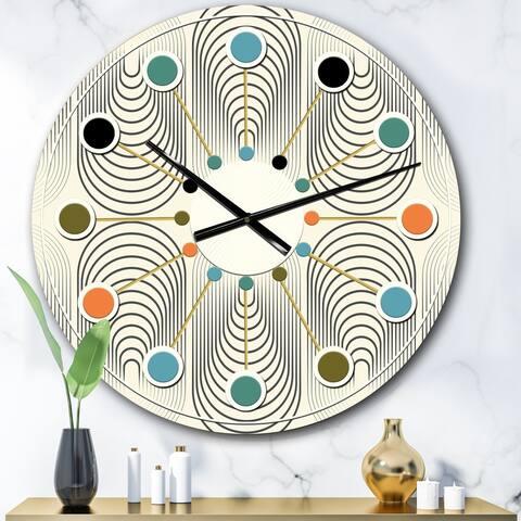 Designart 'Monochrome Geometric Pattern X' Mid-Century wall clock