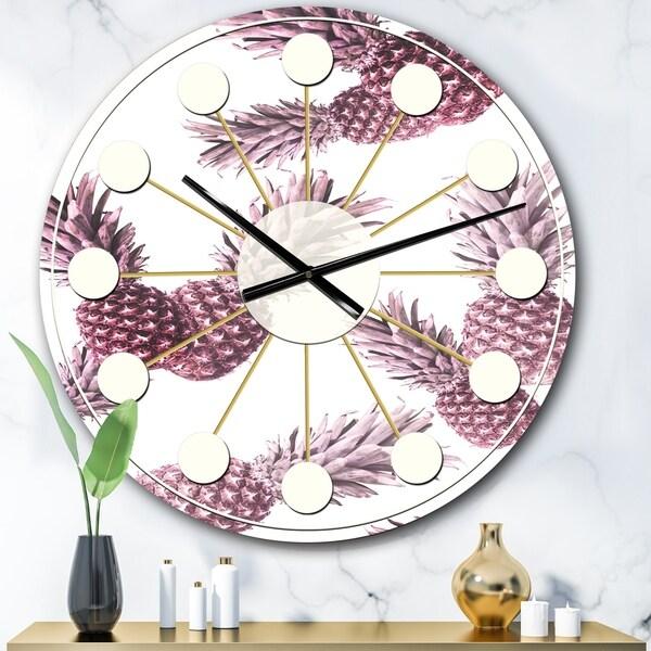 Designart 'Pineapple Summer Bliss III' Mid-Century wall clock