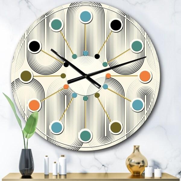 Designart 'Retro Curved Minimal Geometric Ornament I' Mid-Century wall clock. Opens flyout.