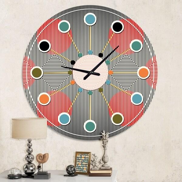 Designart 'Modern Circle and Line Geometric Pattern' Mid-Century wall clock