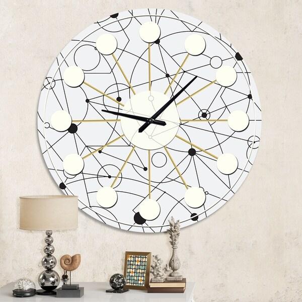 Designart 'Retro Geometric Grid III' Mid-Century wall clock