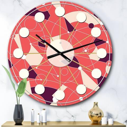 Designart 'Retro Geometric Grid I' Mid-Century wall clock