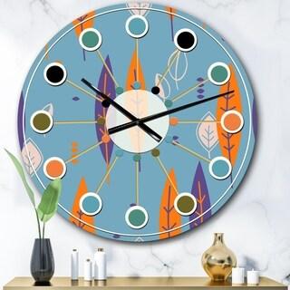 Designart 'Floral Retro Botanical Pattern II' Mid-Century wall clock