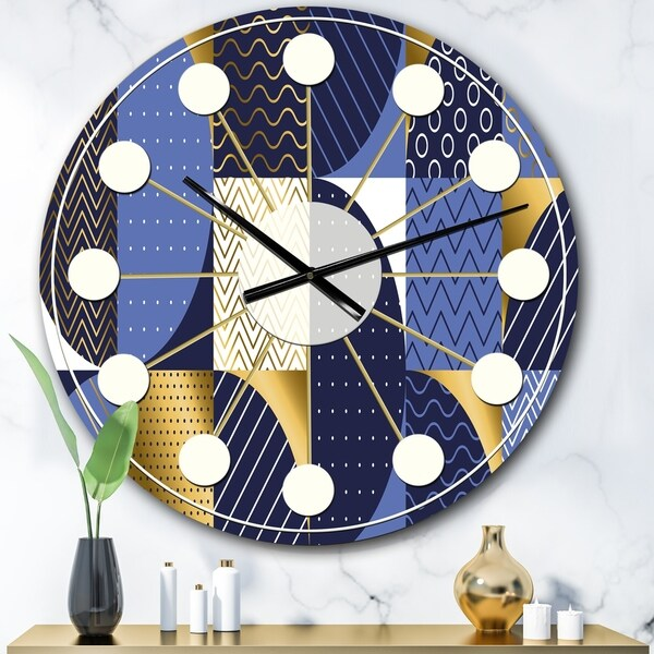 Designart 'Retro Luxury Waves In Gold and Blue IV' Mid-Century wall clock
