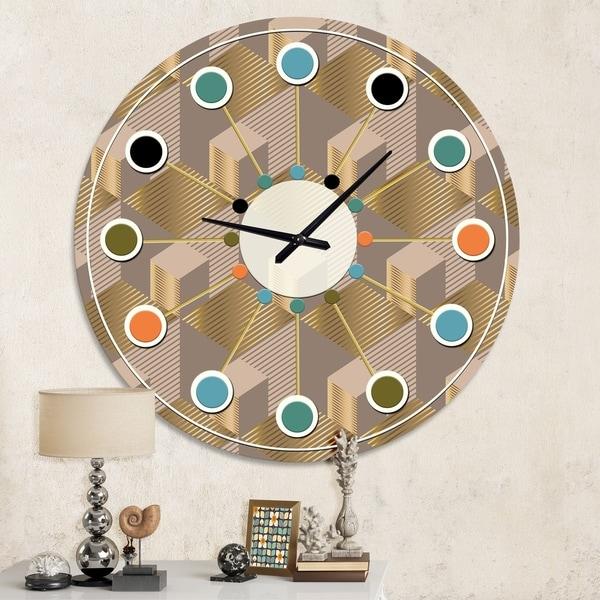 Designart 'Retro Square Design V' Mid-Century wall clock