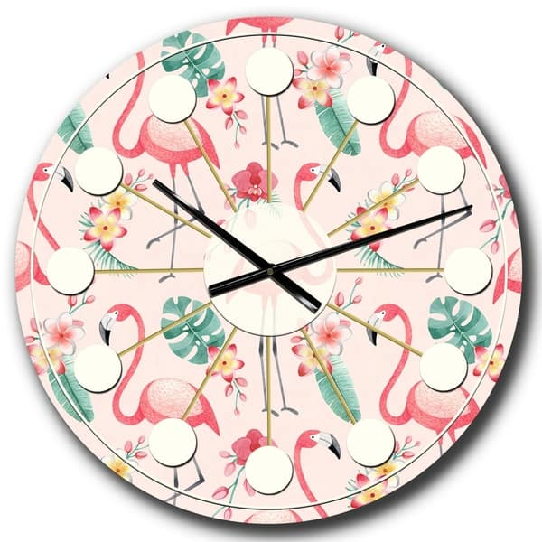 Designart Tropical Botanicals Flowers And Flamingo Ii Mid Century Wall Clock Overstock 28496089