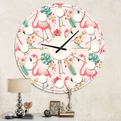 Designart 'Tropical Botanicals, Flowers and Flamingo II' Mid-Century wall clock