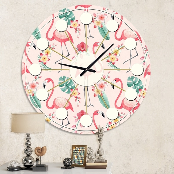 Designart 'Tropical Botanicals, Flowers and Flamingo II' Mid-Century wall clock. Opens flyout.