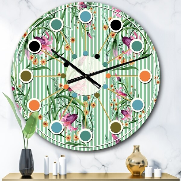 Designart 'Floral Botanical Retro IX' Mid-Century wall clock