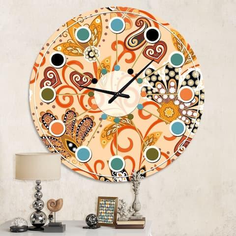Designart 'Retro Indian Floral Batik III' Mid-Century wall clock