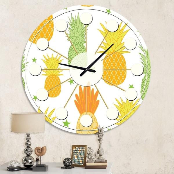 Designart 'Pineapple Summer Bliss II' Mid-Century wall clock