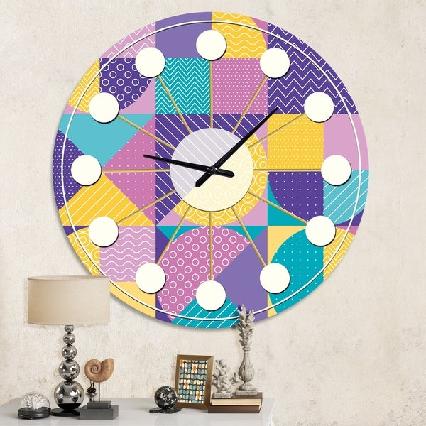 Designart 'Geometrical Pastel Abstract I' Mid-Century wall clock