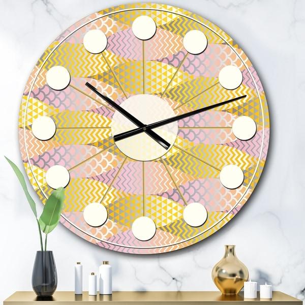 Designart 'Golden Geometrical Fish Scale' Mid-Century wall clock