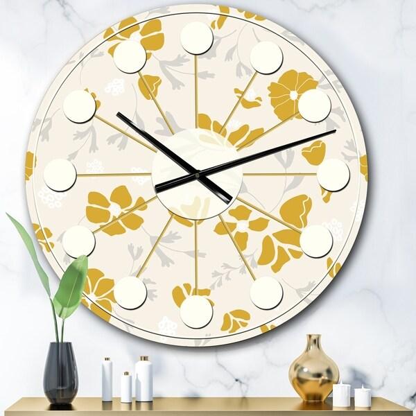 Designart 'Retro Handdrawn Poppies III' Mid-Century wall clock