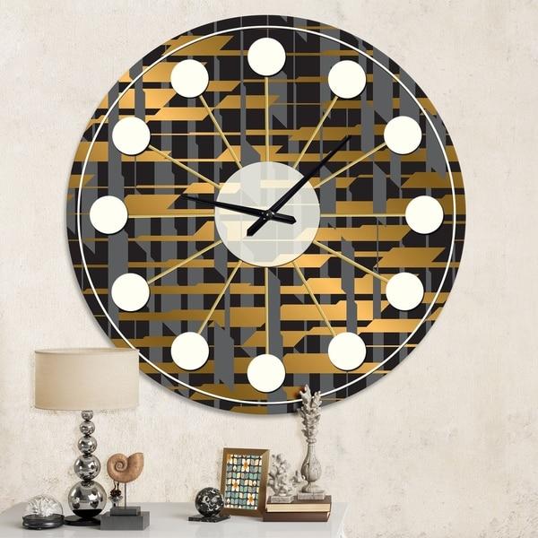 Designart 'Gold Checkered Pattern I' Mid-Century wall clock