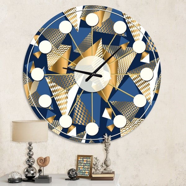 Designart 'Gold and Blue Cubes' Mid-Century wall clock