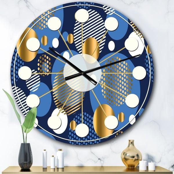 Designart 'Circular Abstract Retro Geometric XI' Mid-Century wall clock