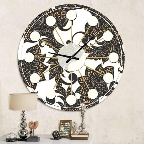 Designart 'Retro Indian Floral Batik I' Mid-Century wall clock