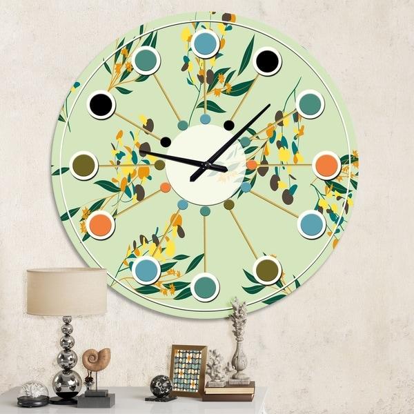 Designart 'Bright Eucalyptus Floral Pattern III' Mid-Century wall clock