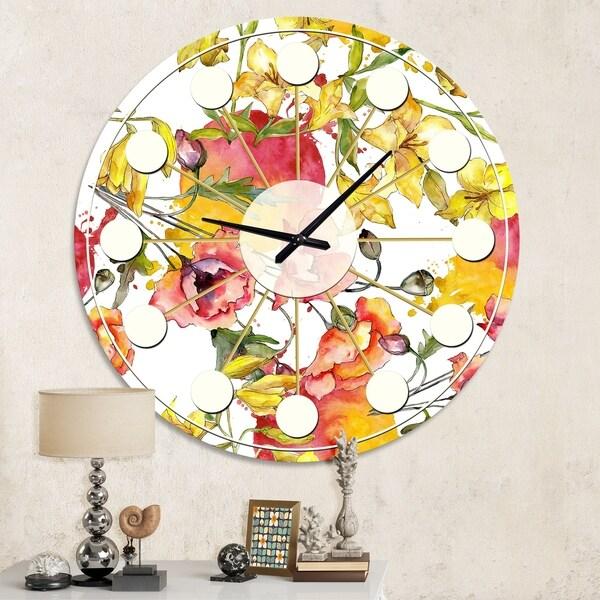 Designart 'Retro Handdrawn Poppies IV' Mid-Century wall clock