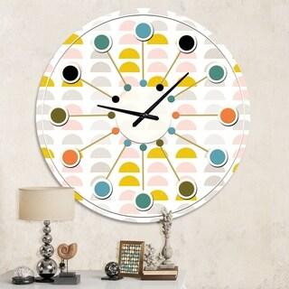Designart 'Retro Pastel Circular Pattern III' Mid-Century wall clock