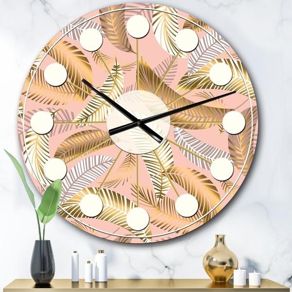 Designart 'Golden Tropical Pattern V' Mid-Century wall clock