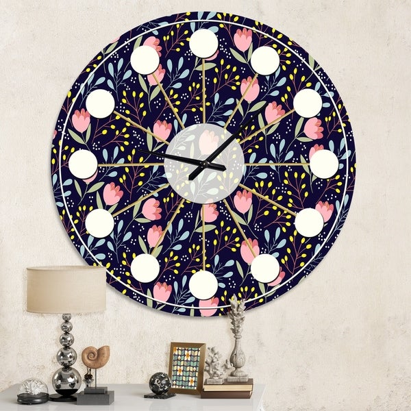 Designart 'Handdrawn Pink Flowers ' Mid-Century wall clock