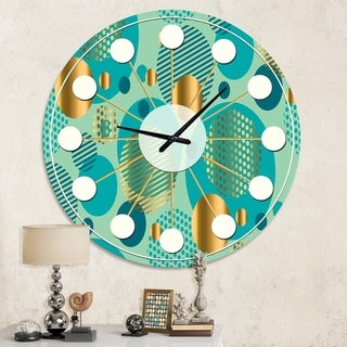 Designart 'Gold and Blue Dynamics III' Mid-Century wall clock