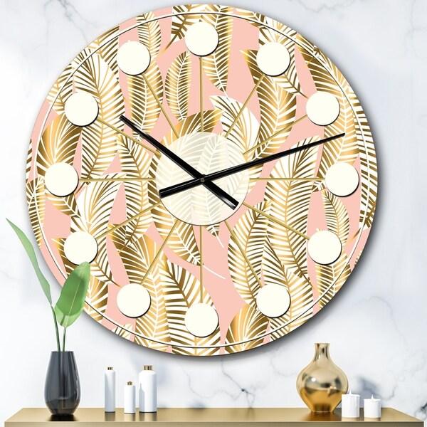 Designart 'Golden Palm Leaves I' Mid-Century wall clock