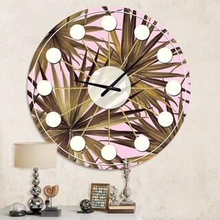 Designart 'Tropical Leaves On Pink' Mid-Century wall clock