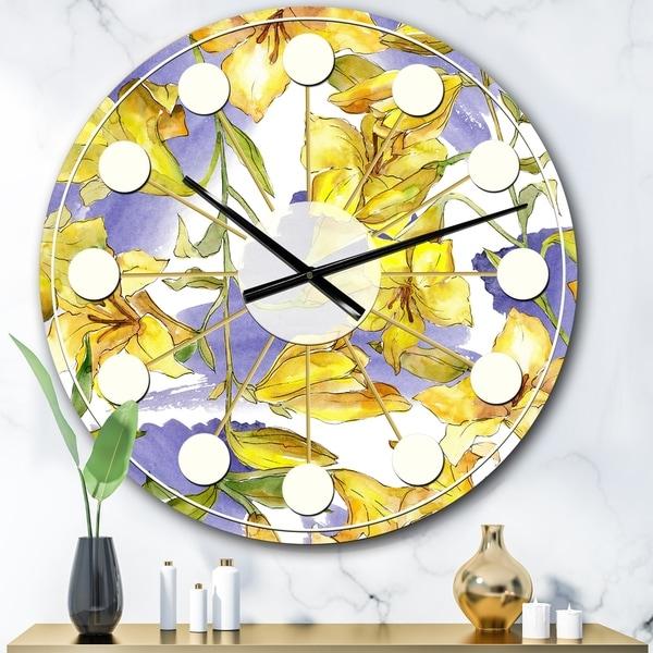 Designart 'Retro Handdrawn Poppies V' Mid-Century wall clock