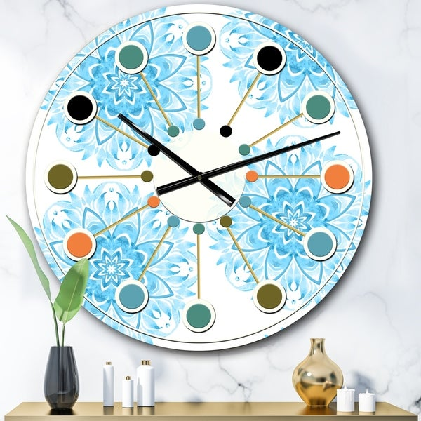 Designart 'Circular Geometric In Blue' Mid-Century wall clock