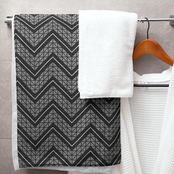Gray Color Accent Hand Drawn Chevrons Bath Towel - 30 x 60