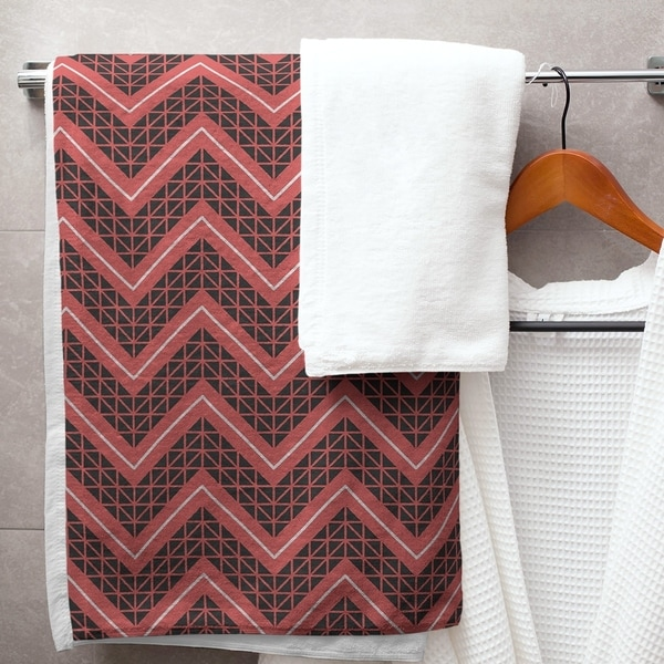 Reverse Color Accent Hand Drawn Chevrons Bath Towel - 30 x 60