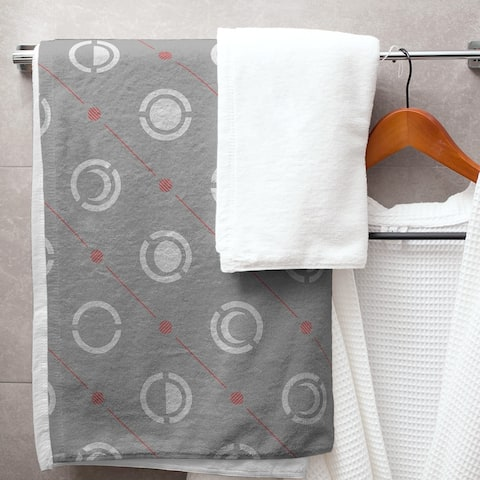 Gray Color Accent Moon Phases Bath Towel - 30 x 60