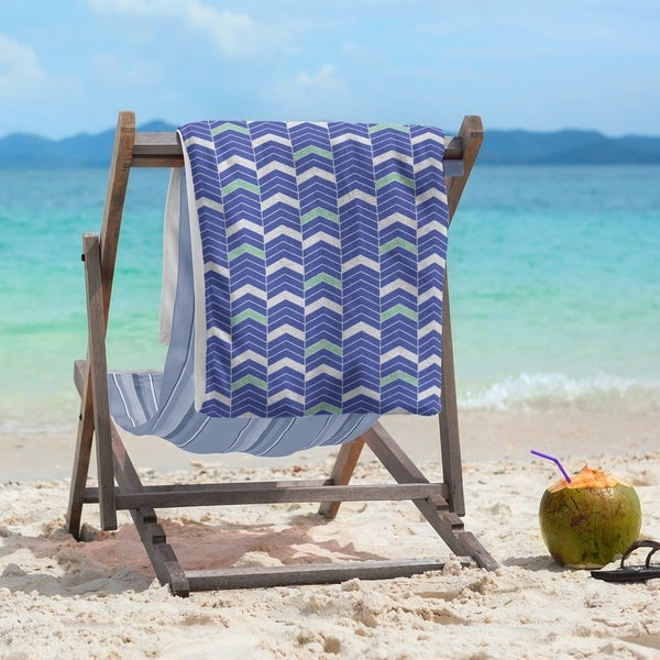 Two Color Lined Chevrons Beach Towel - 36 x 72