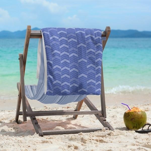Monochromatic Lined Chevrons Beach Towel - 36 x 72